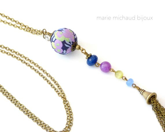 Liberty necklace, Necklace with tassel, Liberty jewelry, Summer necklace, Romantic necklace, Romantic jewelry, Boho necklace, Blue Purple