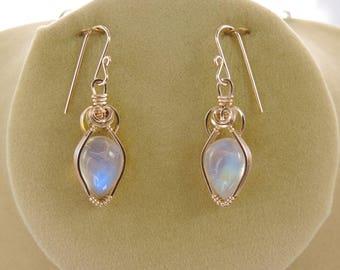 Exquisite Rainbow Moonstone dangle earrings in gold