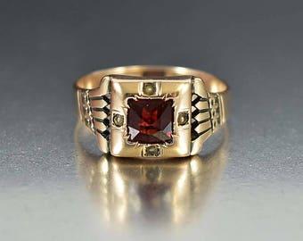 Antique Gold Garnet Ring | 10K Gold January Birthstone Ring | Victorian Engagement Ring | Antique Engagement Edwardian Ring | Stacking Ring