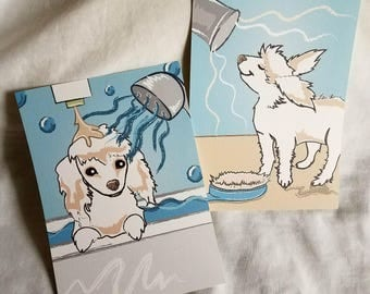 Grooming Poodle - 5x7 Eco-friendly Pair of Linen Prints