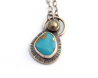 Campitos Turquoise Necklace, Onyx Necklace, Oxidized Silver Pendant Necklace, Silver and Turquoise Pendant, December Birthstone Jewelry