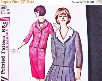 on SALE 25% Off 1960s Dress Pattern UNCUT Misses size 18 Bust 38 Womens Suit Pattern Jacket, Detachable Collar, Pleated Skirt Vintage Sewing