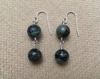 Jasper Earrings, African Turquoise Earrings, Semiprecious Gemstones Sterling Silver Blue Green Earrings Beaded Earrings Dangle Wire Wrapped