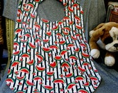 Senior Reversible Dining Bib, Watermelon Slices Black Stripes Print