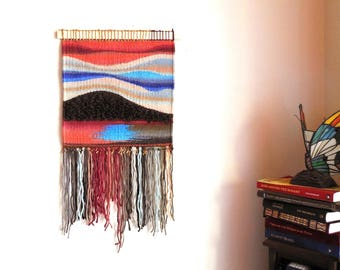 """Hand Woven Tapestry...""""Sunset At The lake""""...Wall hanging Tapestry..Woven Abstract..Bohemian tribal Art..Fiber Art..Home Decoration"""