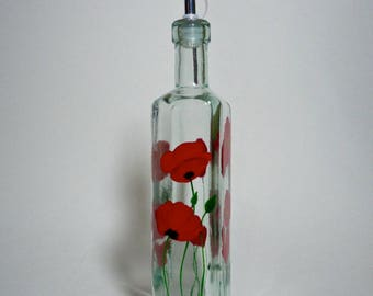 Olive oil bottle red poppies hand painted recycled glass # 2