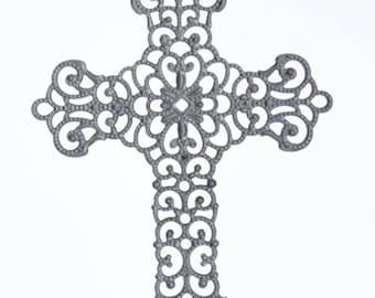 Brass stamping  fiigree cross, stamped brass 37mm 04118GM