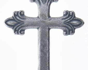 cross  Fleur de lis 43x64mm Classic Silver Cross Charm, each 04119CS