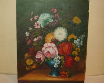 Painting Vintage Floral Flowers vase cottage chic roses asters daisies art oil board 8x10