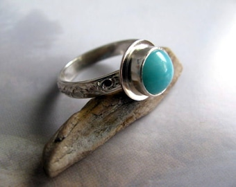 Sterling Silver Ring, Amazonite Gemstone Ring, Handmade Silver Jewelry, Ring Size 8.25