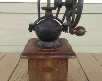 Vintage Antique Cast Iron Wood Coffee Grinder