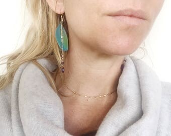 Cruelty free Feather Macaw Earrings Amethyst Gemstones