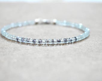 aquamarine and  iolite bracelet. aquamarine bracelet. thin multi-gemstone beaded bracelet.. pale aquamarine bracelet