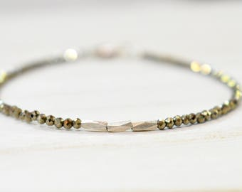 tiny faceted pyrite with sterling silver beaded bracelet. thin pyrite bracelet with sterling bead detail. bronze pyrite and silver bracelet