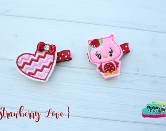Valentine's Day Hair Clippies or Planner clips  { Strawberry Love }  Choose, pink owl, chevron heart, red bow Hair Clip, Barette, No Slip