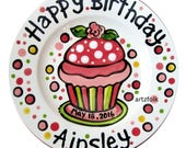 "7"" or 10"" Sweet little rose Happy Birthday cupcake personalized Plate custom ceramic"