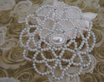 White Beaded Kippah - Wedding Kippah - Temple Kippah - Wedding Kippah.
