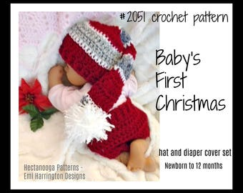 Baby's First Christmas, CROCHET PATTERN, Diaper Cover and Elf Hat, newborn - 12 months, crochet for baby, Christmas gift, #2051