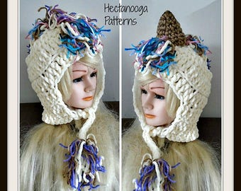 crochet hat pattern, special offer - unicorn hat, child teen adult, quick and easy chunky crochet pattern, #1112