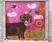 Folk Art Goat Painting in a Handmade Frame