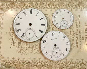 Vintage Porcelain POCKET Watch Faces (3) for Steampunk and Altered Art- Elgin- Black and White Numbers- Watch Dials- C83