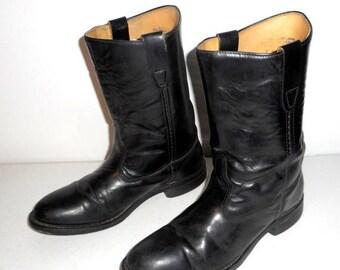 Mens Size 7 D Black Cowboy Rockabilly Western Vintage Boots Shoes Low Heels