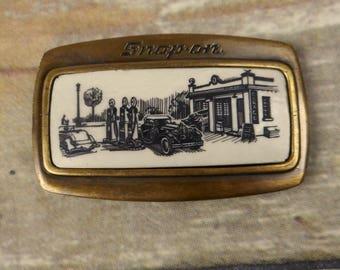 Snap On Belt Buckle Gas Pump Service Station Garage Mechanic Tools Antique Car