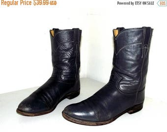 Grey Roper style cowboy Boots -- Justin brand size 9 D or cowgirl size 10.5 to 11