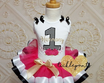 Made for all ages - Flower birthday outfit -  Black hot pink white gold -  Includes embroidered top and ruffled tutu - Can be customized
