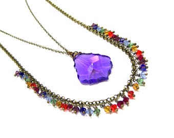 ON SALE Rainbow Crystal Multi Strand Necklace Layered Necklace Rainbow Crystal Top Selling Jewelry Violet Crystal