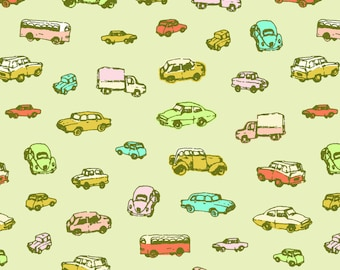 Retro Cars Fabric - Little Retro Cars   Green Background By Imaginaryanimal - Retro Watercolor Cotton Fabric By The Yard With Spoonflower
