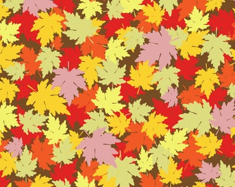 Fall Foliage Fabric - Autumn Fall Leaves By Sarah Twist - Autumn Yellow Orange Leaves Halloween Cotton Fabric By The Yard With Spoonflower