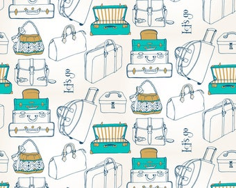 Let's Go! Fabric - Let'S Go! By Veraholera - Suitcase Travel Cotton Fabric By The Yard With Spoonflower