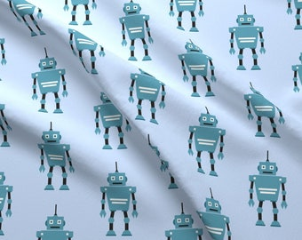 Blue Toy Robots Fabric - Toy Robots By Sunshineandspoons - Blue Robots Nursery Decor Cotton Fabric By The Yard With Spoonflower