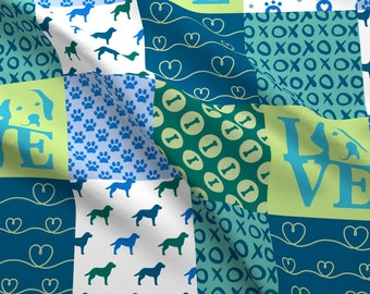 Dog Quilt Fabric - Cheater Quilt Labrador By Mariafaithgarcia - Whole Cloth Blue Green Dog Lover Cotton Fabric By The Yard With Spoonflower
