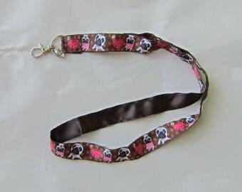Handmade Grosgrain & Satin Ribbon Dog PUG Lanyard/Keychain/Badge Holder w/Metal Charm...choose color