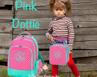 GIRLS personalized backpack , Back To School , kids backpack , lunch box,  monogrammed backpack , girls backpack, pink dottie