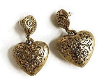 Puffy Heart Dangle Earrings Damascene Style Vintage