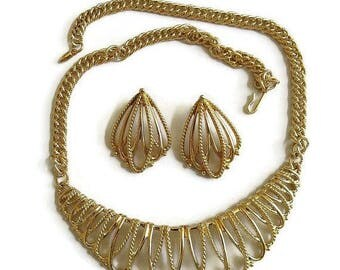 Open Work Bib Necklace & Earrings Set Vintage Gold Tone