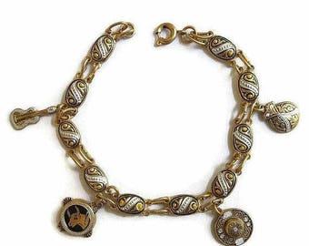 SALE Damascene Charm Bracelet with Guitar, Bull, Castanet & Flamenco Dancer Hat Vintage Toledo Spain