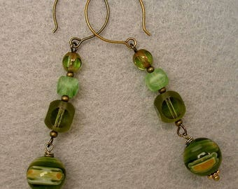 Vintage German Cathedral Glass Dangle Drop Bead Peridot Green Earrings, Venetian Green Millefiori Glass Beads -GIFT WRAPPED
