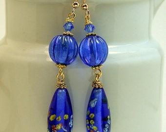 Vintage Japanese Millefiori Glass Cobalt Blue Dangle Drop Teardrop Bead Earrings, Vintage Cobalt Blue German Glass Beads ,Gold ear wires