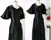 Vintage 1930s Dress - Glamorously Glossy Jet Black Bias Cut Charmeuse Satin Late 30s Gown with Caped Sleeves by Sally Forth