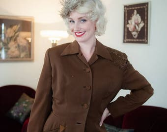 50% CLEARANCE Vintage 1940s Jacket - Exceptional Fred Block Brown Gabardine 40s Jacket with Heavily Beaded Shoulders & Suede Pocket Detail