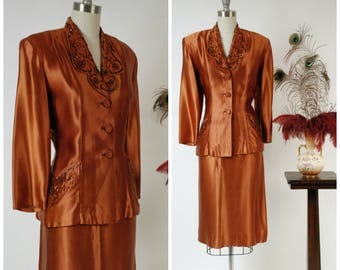 Vintage 1940s Suit - Incredible Copper Colored Satin Suit with Strong Shoulders and Glittering Beadwork by Jack Liebman