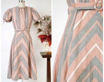 Vintage 1940s Dress - Charming Pink and Grey Mitered Stripes Cotton 40s Day Dress with Puff Sleeves Peggy Jean Junior