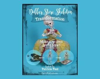 TUTORIAL - Transform Dollar Store Skeletons into Spooky Art Dolls Figures