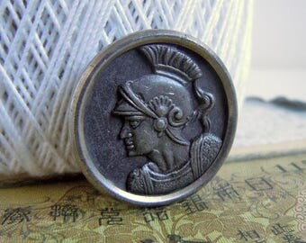 Vintage Metal Roman Soldier Picture Sewing Button