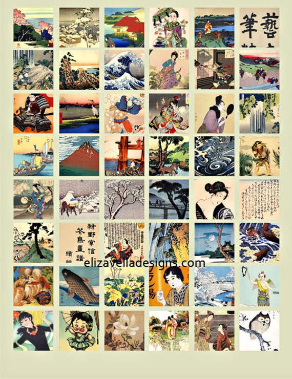 Asian Chinese Japanese Geisha girls animals landscape clipart digital download collage sheet 1 inch squares graphics images printables