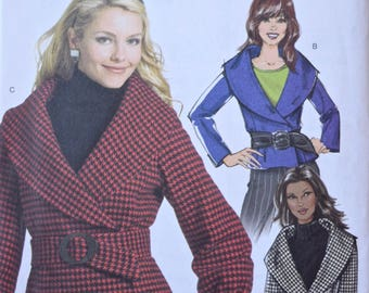 Butterick B5087 Sewing Pattern Misses' Jacket and Belt Semi-fitted Double Breasted Jacket Sleeve Variations Wide Collar UNCUT FF Sizes 8-14